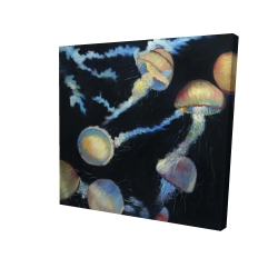 Canvas 24 x 24 - 3D - Colorful jellyfishes in the dark