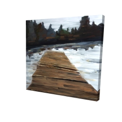 Canvas 24 x 24 - 3D - Dock and lake