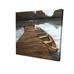 Canvas 24 x 24 - 3D - Lake, dock and boat