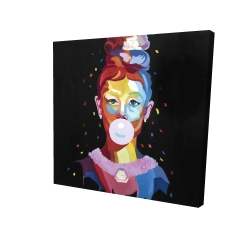 Canvas 24 x 24 - 3D - Colorful audrey hepburn portrait with bubblegum