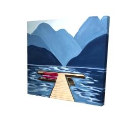Canvas 24 x 24 - 3D - Lake, quai & mountains