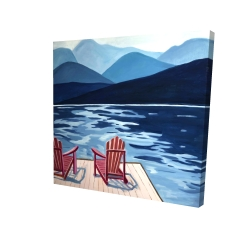 Canvas 24 x 24 - 3D - Lake, dock, mountains & chairs