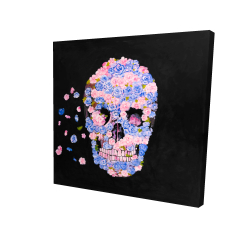 Canvas 24 x 24 - 3D - Skull of flowers in flight