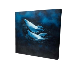 Canvas 24 x 24 - 3D - Two swimming dolphins