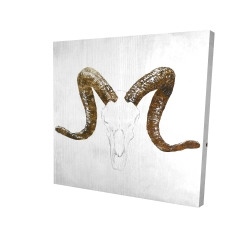 Canvas 24 x 24 - 3D - Aeries skull with brown horns