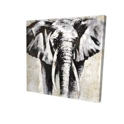Canvas 24 x 24 - 3D - Grayscale elephant