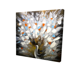 Canvas 24 x 24 - 3D - Abstract color spotted peacock