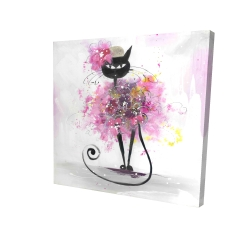 Canvas 24 x 24 - 3D - Cartoon cat with pink flowers