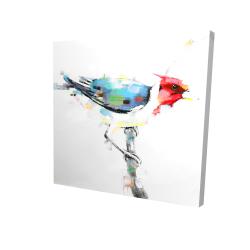 Canvas 24 x 24 - 3D - Colorful woodpecker
