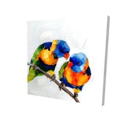 Canvas 24 x 24 - 3D - Couple of parrots