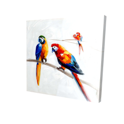 Canvas 36 x 36 - 3D - Parrots on a branch