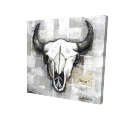 Canvas 24 x 24 - 3D - Industrial style bull skull