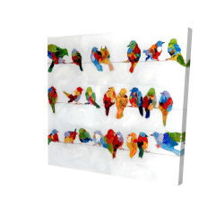A lot of colorful birds on a wire