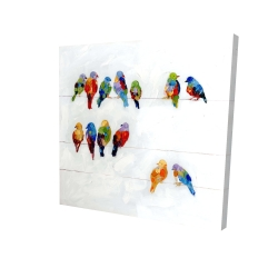 Canvas 24 x 24 - 3D - Colorful birds on a wire