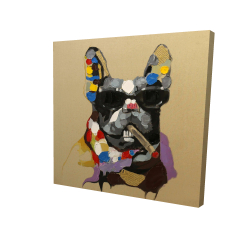Canvas 24 x 24 - 3D - Abstract smoking dog