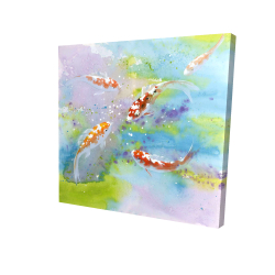 Canvas 24 x 24 - 3D - Four koi fish swimming