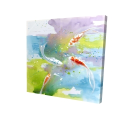 Canvas 24 x 24 - 3D - Koi fish in colorful water