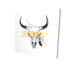 Canvas 24 x 24 - 3D - Cow skull with feather