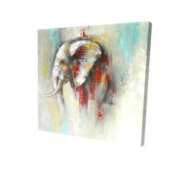 Toile 24 x 24 - 3D - éléphant abstrait avec éclats de peinture