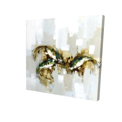 Canvas 24 x 24 - 3D - Three abstract koi fish