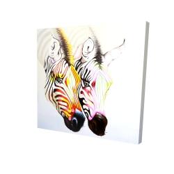 Canvas 24 x 24 - 3D - Couple of colorful zebras