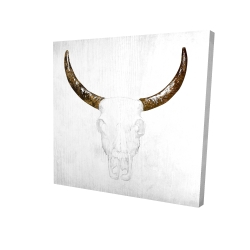 Canvas 24 x 24 - 3D - Bull skull with brown horns