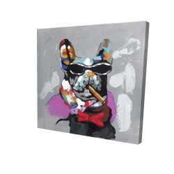 Canvas 24 x 24 - 3D - Abstract bulldog with cigar