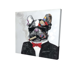 Canvas 24 x 24 - 3D - Smoking gangster bulldog