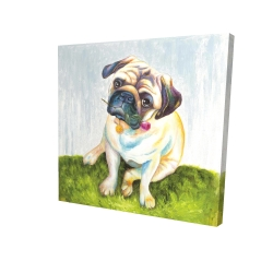 Canvas 24 x 24 - 3D - Cute pug with a rose in his mouth
