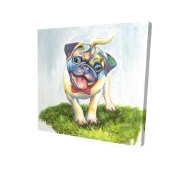 Canvas 24 x 24 - 3D - Colorful smiling pug