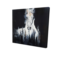 Canvas 24 x 24 - 3D - Abstract white horse on black background