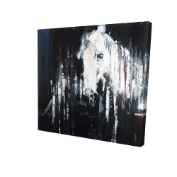 Canvas 24 x 24 - 3D - Abstract horse on black background