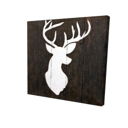 Canvas 24 x 24 - 3D - White silhouette of a deer on wood