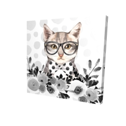 Canvas 24 x 24 - 3D - Geek cat