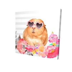 Toile 24 x 24 - 3D - Cochon d'inde à lunette