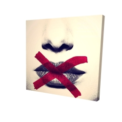 Canvas 24 x 24 - 3D - Grayscale lips with a red x