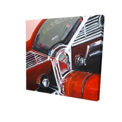 Canvas 24 x 24 - 3D - Vintage red car dashboard