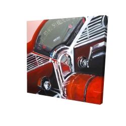 Canvas 24 x 24 - 3D - Vintage red car dashboard
