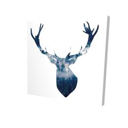 Canvas 24 x 24 - 3D - Deer head landscape