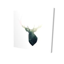 Canvas 24 x 24 - 3D - Deer head with green landscape shape