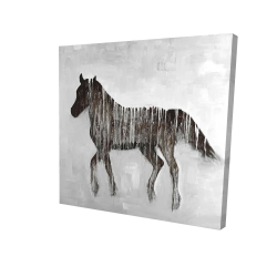 Canvas 24 x 24 - 3D - Gambading abstract horse