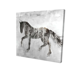 Canvas 24 x 24 - 3D - Horse brown silhouette