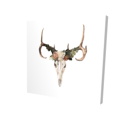 Canvas 24 x 24 - 3D - Deer skull with roses