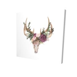 Canvas 24 x 24 - 3D - Deer skull with flowers
