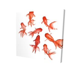 Canvas 24 x 24 - 3D - Red fishes