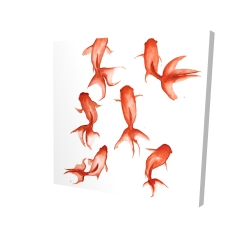Canvas 24 x 24 - 3D - Small red fishes