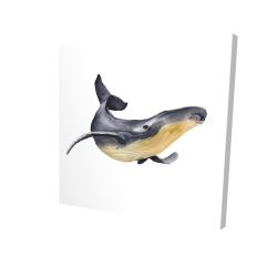 Canvas 24 x 24 - 3D - Watercolor blue whale