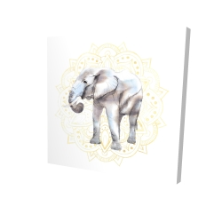 Canvas 24 x 24 - 3D - Elephant on mandalas pattern