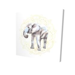 Canvas 24 x 24 - 3D - Elephant on mandalas pattern