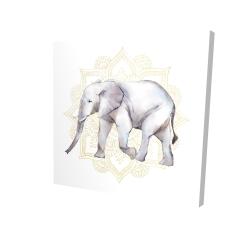 Canvas 24 x 24 - 3D - Elephant on mandalas